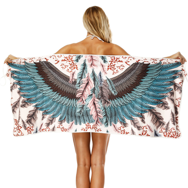 163*66cm Wearable Sexy Bath Towel 2018 3D Wings Printed Bath Towels for Adults Girls Wear Skirts Bathrobe Absorbent Beach Towel