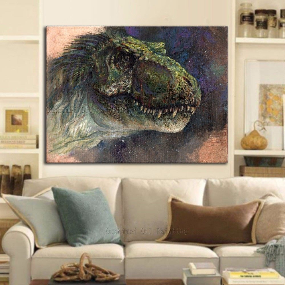 Superb Artist Handmade Unique Wall Painting Huge Animals Dinosaur Oil Painting On Canvas Hand-painted Dinosaur Paintings