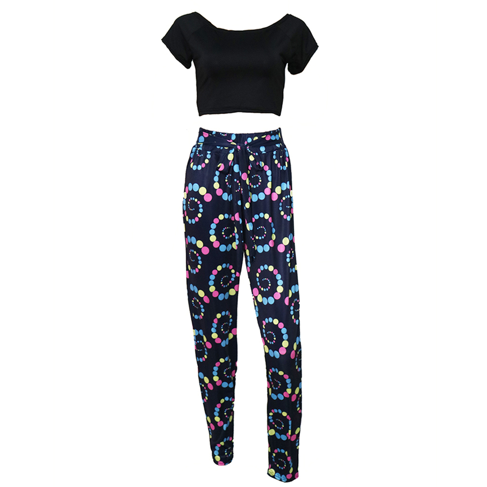 Summer Fashion Pantsuit for Women Two Piece Set Africa Printed Causal Sportswear Crop Top Tie Waist Crop Top + Pants Suits Black