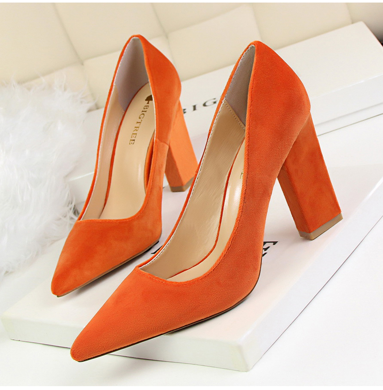Women\`s Pumps Shoe Slip-On Wedding Women Shoes High Heels Sandals Silver Office Lady Shoes Woman High Heel Mules Square Heels (1)