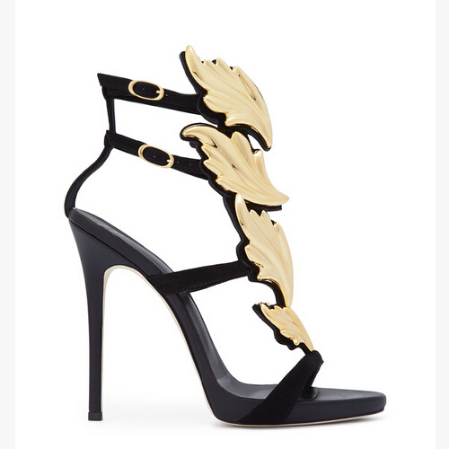 Pink Nude Gold Black Red Winged Leaves Gladiator Women Sandals 2016 Patent Leather Stiletto High Heels Sandals Shoes Woman Botas (1)