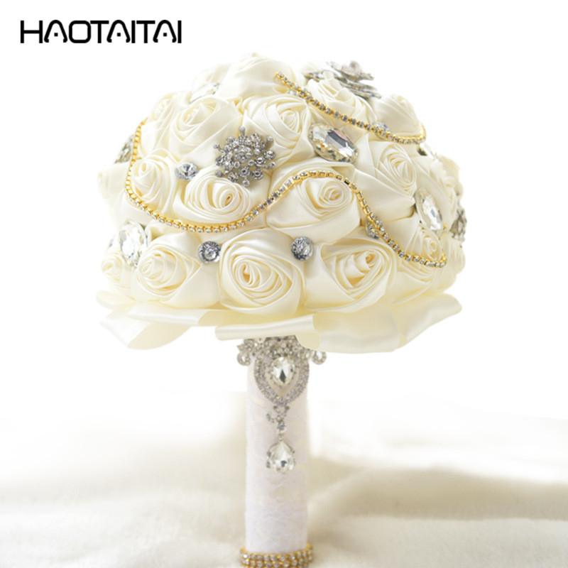 Ramo de la boda Custom White Marfil Gris Rosas Broche Nupcial Ramos Impresionante Crystal Jewelry Seda Ramo de Dama de honor