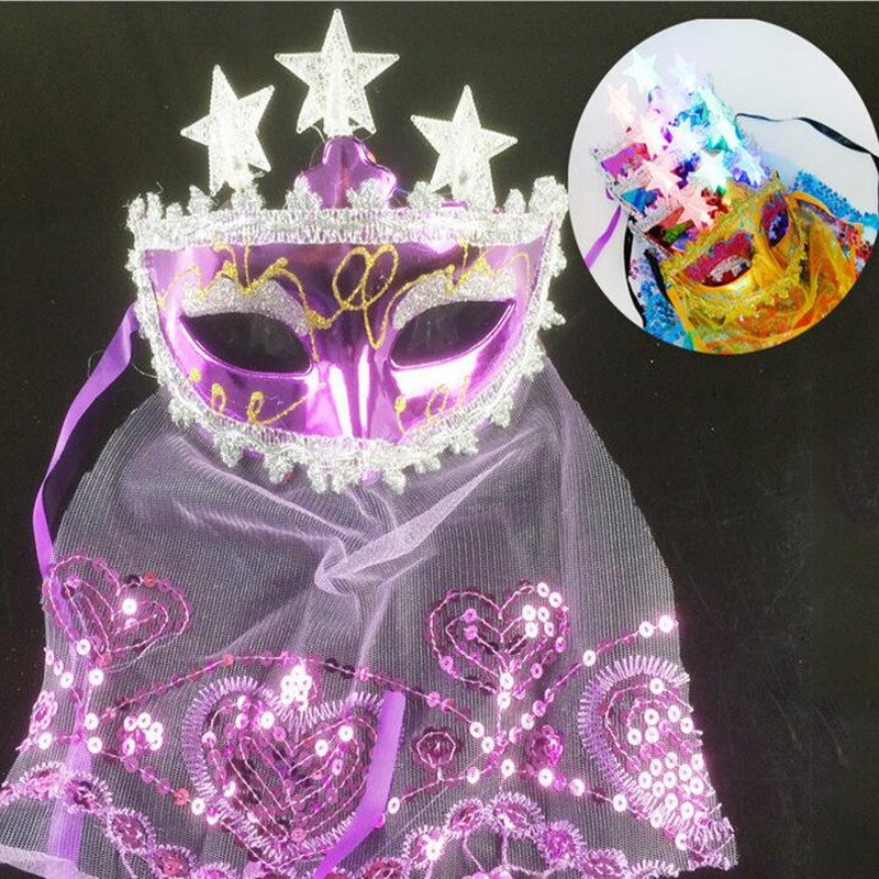 Colorful Flashing Light-up Star Mask Veil Women Venice Princess Masquerade Masks New Year Party Costume Accessories