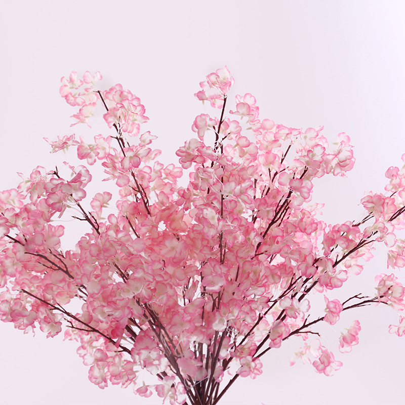 Plastic& Silk artificial Cherry flowers decorative flowers for wedding DIY Peach Blossom Cherry Plum Branch Decorative Fake flowers