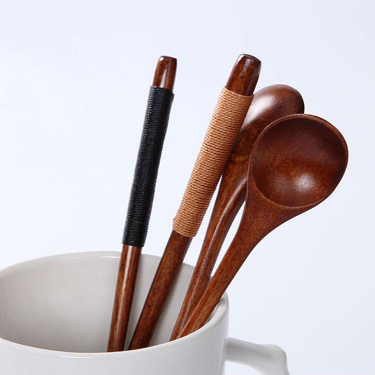 Set of 6 Long Handle Wooden Spoons Dessert Coffee Stirring Spoon Natural Wood Japanese Style Honey Spoon Tableware Accessories (7)
