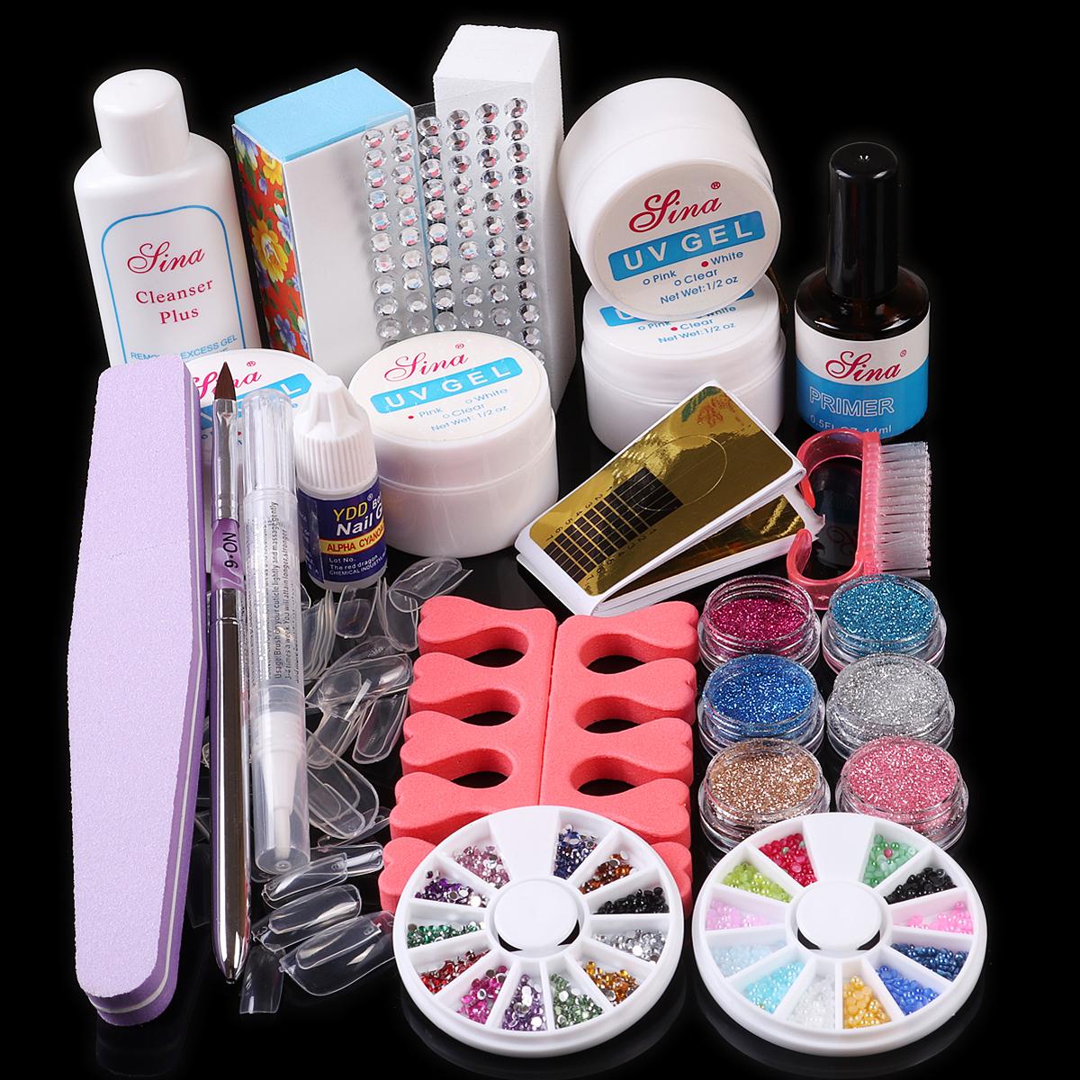 wholesale Nail Art Acrylic UV Gel Top Coat Cleanser Powder Glue Brush File Guide Forms Rhinestones Decoration False Nail Tips Set Kit