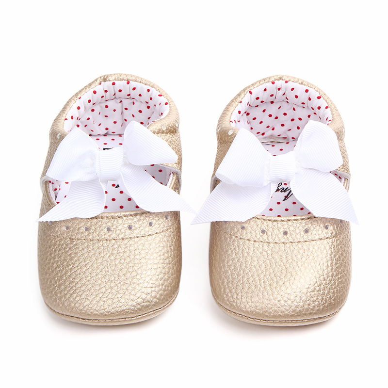 Baby Girls Shoes Moccasins Bow Princess Shoes Pu Leather Newborn Infant Shoes For Spring Girls 0-18Month