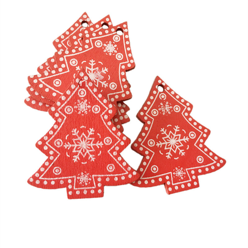 5CM New Year Wooden Christmas Ornaments Pendant Hanging Gifts Natal Party Decor Xmas Tree Decorations for Home Noel Crafts Y18102909