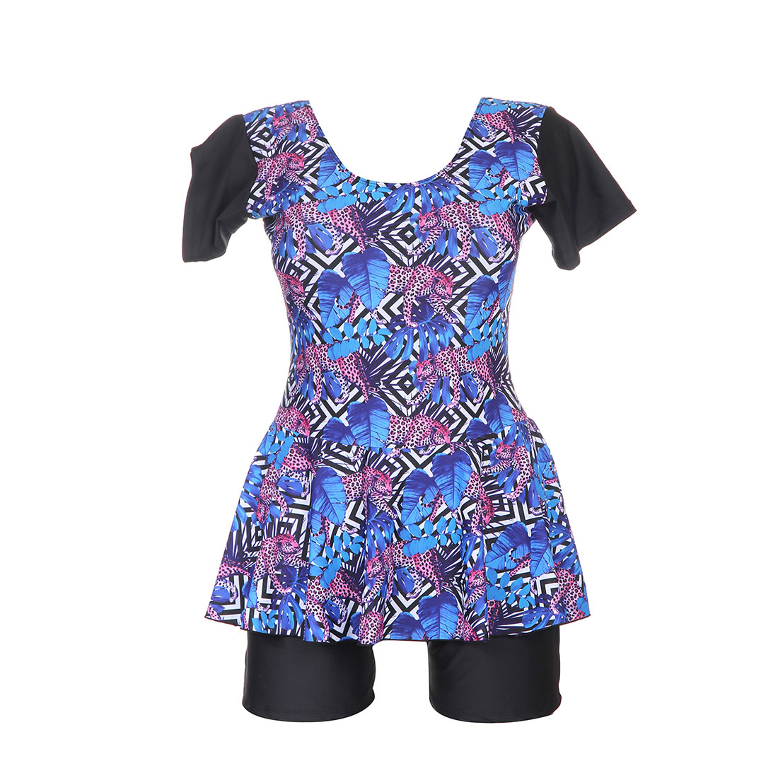 2018 Plus Size Two Piece Swimsuit Short Sleeve Swimwear Women costume da bagno Print Floral Tankini Swim Suits Surfing Wear