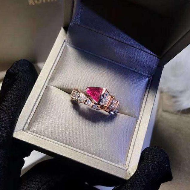 Woman Snake Rose Gold Ruby Rings Viper Carnelian Open Rings Women