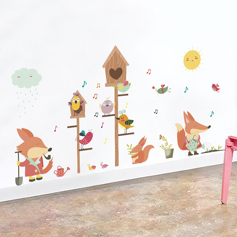 Jungle Wild Forest Animals Squirrel Birds Wall Stickers For Kids Rooms Cartoon Children Bedroom Decor Wall Mural Art PVC Decalshaif
