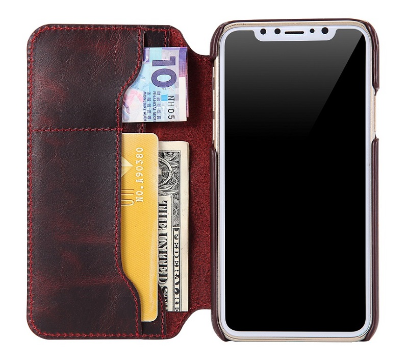 Wine red luxury original leather cover case for iPhone x cell phone flip capa