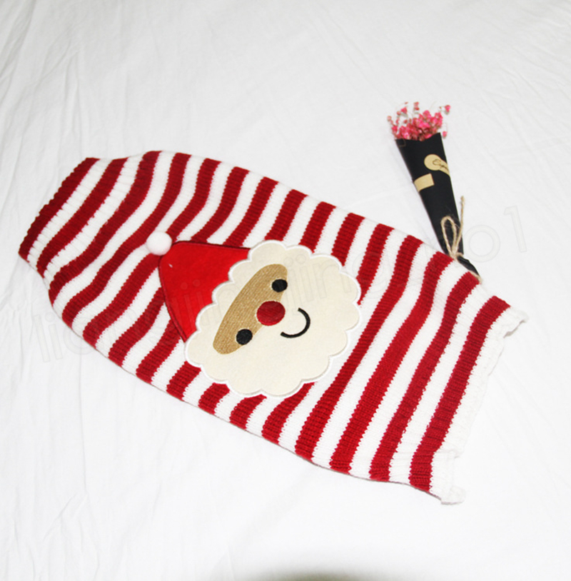 Christmas Pet Sweater Dress Striped Knitwear Coat Knitted Hoodie Apparel Puppy Dog Cat Winter Clothes GGA1048