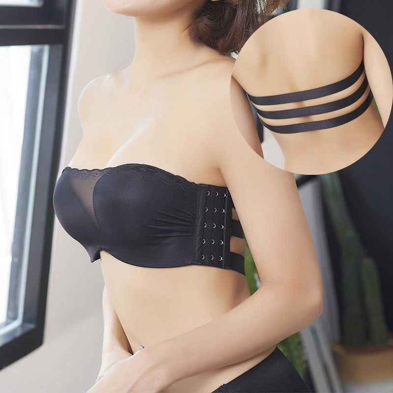 wholesale Wireless Thick Side Closure Lace Bras For Women Strapless Halter Push Up Invisible Bras Sexy Net Yarn Bra Women Seamless