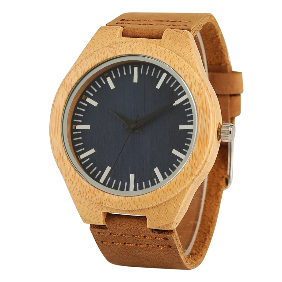 Handmade Wooden Clock Gifts Women Watches Leather Strap Casual Quartz Bamboo Wristwatch Mens Wooden Watches relogio feminino (20)