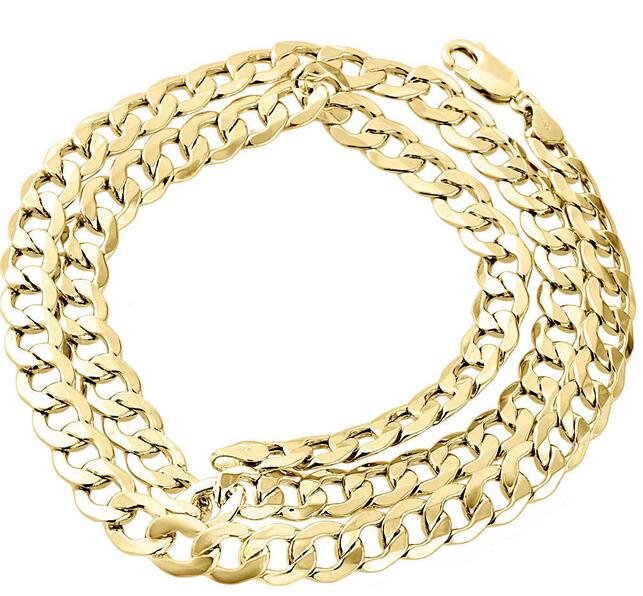 1//10th 10k or Jaune Diamant Cut Figaro Style Chaîne Collier 5.0 mm 18-24 Ins