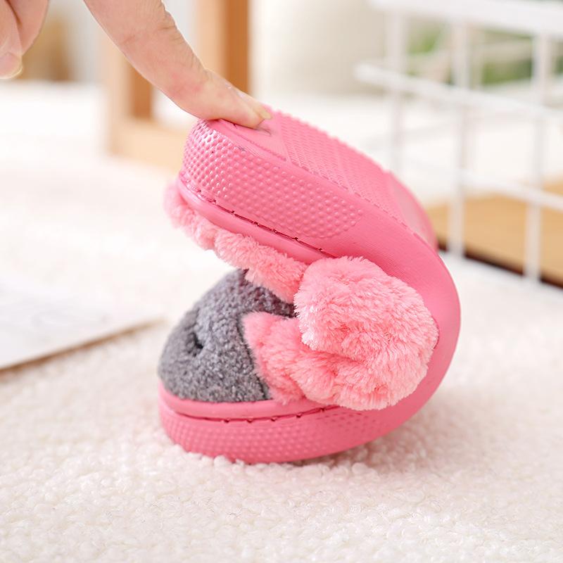 Winter home bedroom slippers ladies cute cartoon men women lovers house shoes soft warm plush furry indoor slides flip flops