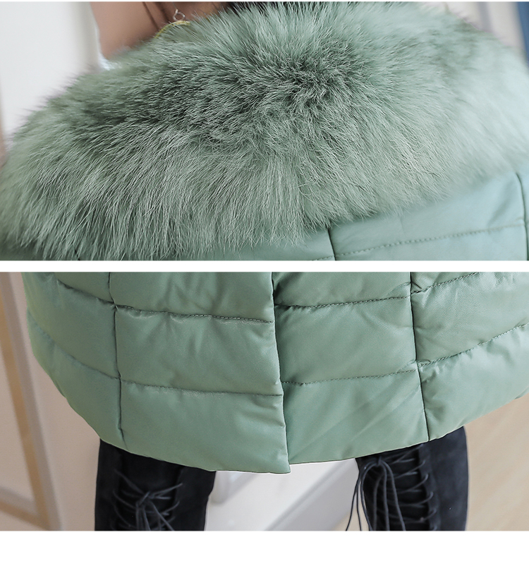 8300 Plus Size Faux Fur Collar Leather Jackets Women Slim Long Warm Down Fur Coat Elegant Top Quality Manteau Femme Hiver 5xl 2018 14