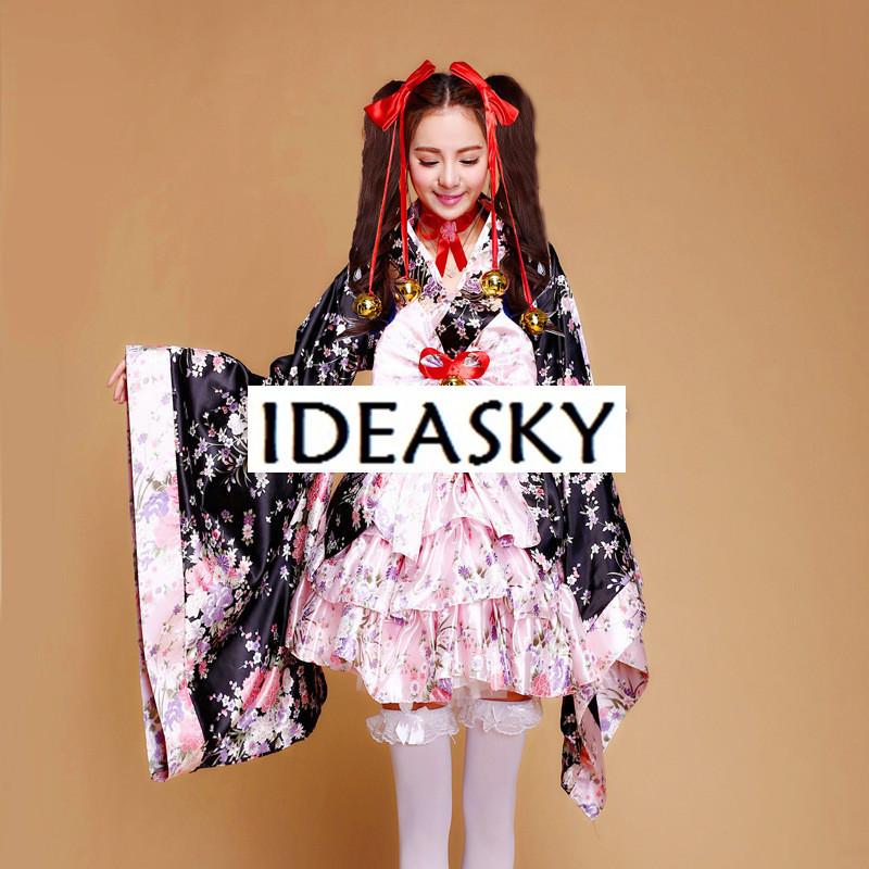 Anime court cosplay japonais kimono lolita costume rouge femme enfant sexy gothique halloween costumes pour femmes robe plus la taille Y18101601