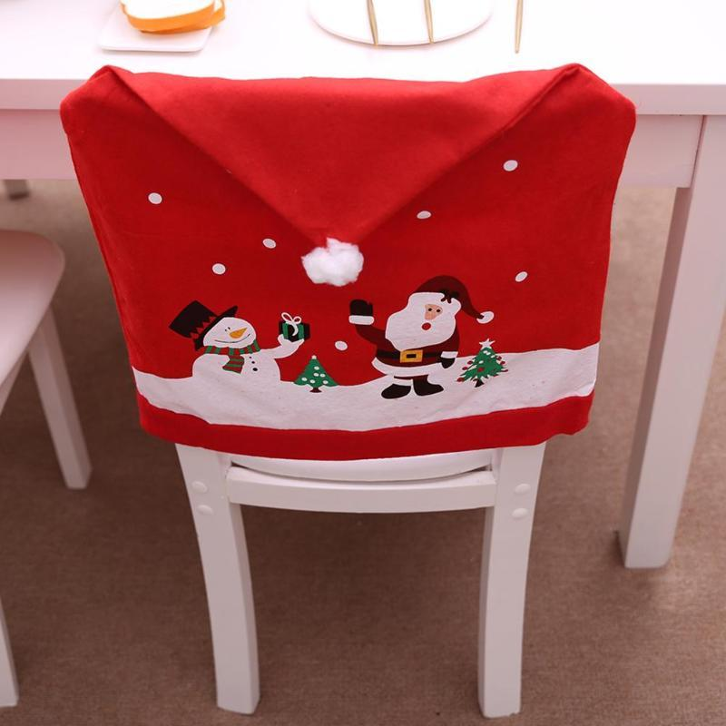 Christmas Chairs Cover Santa Claus Cap Non-woven Dinner Table Red Hat Chair Back Covers Xmas Christmas Decorations for home Y18102609