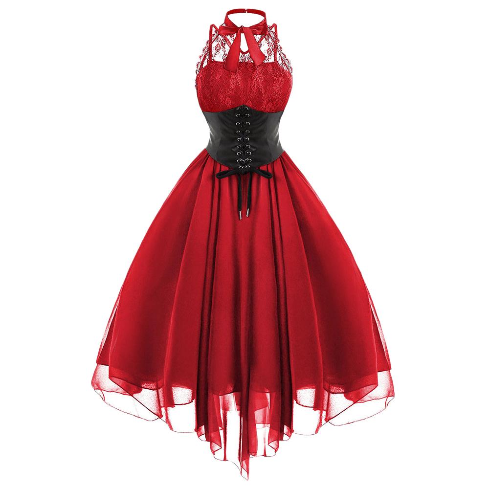 Gamiss 2017 Vestido de Fiesta de Arco Gótico Mujeres Vintage Negro sin Mangas Cruz de Encaje Panel de Corsé Vestido de oscilación Robe Vestidos Femme Y1890810