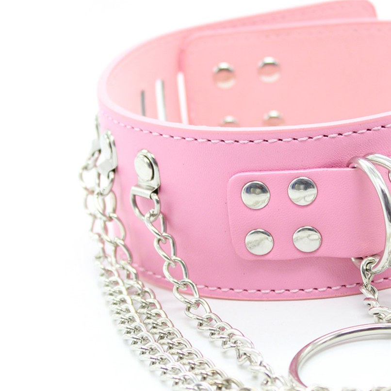 Neck Collars and Chain Choker Necklace BDSM S&M Bondage Restraints Tools Gear Flirting Sex Toy for Women PU Leather Sex Products