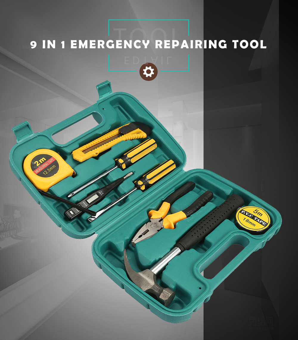 9 in 1 Hardware Car Emergency Kit Set Screwdriver Wrench Plier Repairing Tool