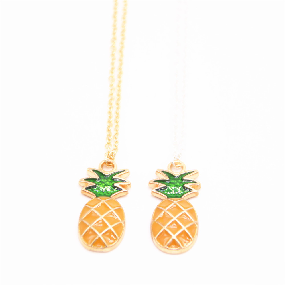 Cute 3D Silver Pineapple Hawaii Necklace Pendant Charm Kawaii /& Gift Bag