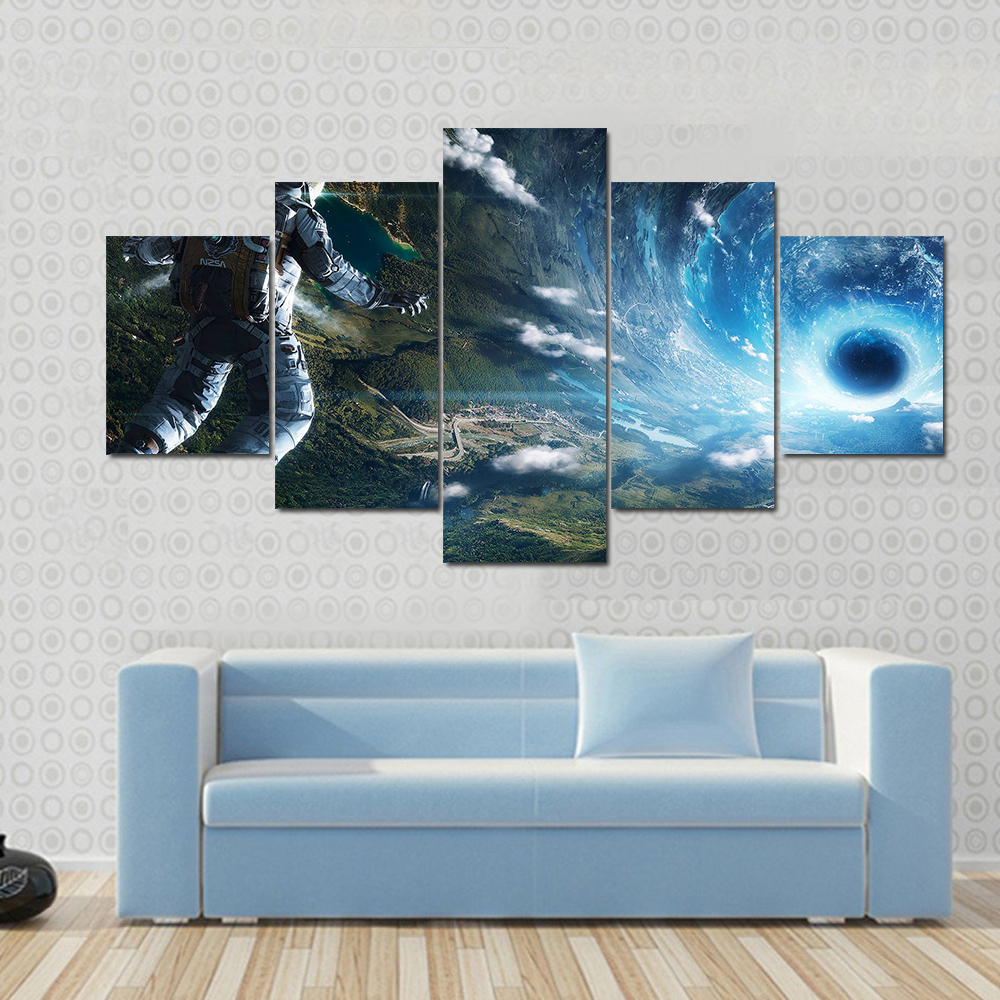 Painting Home Decoration For Living Room 5 Panel Person Falling Into Black Hole Artwork Framework Printed On Canvas Wall Pictures