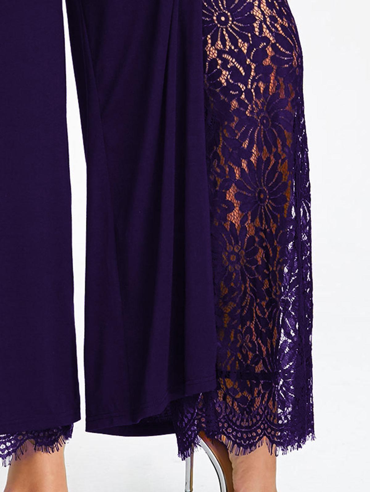 Gamiss Women Wide Leg Pants Plus Size High Slit Lace Lined Palazzo Pants Mid Elastic Waist Female Fashion Long Loose Trousers D1892603