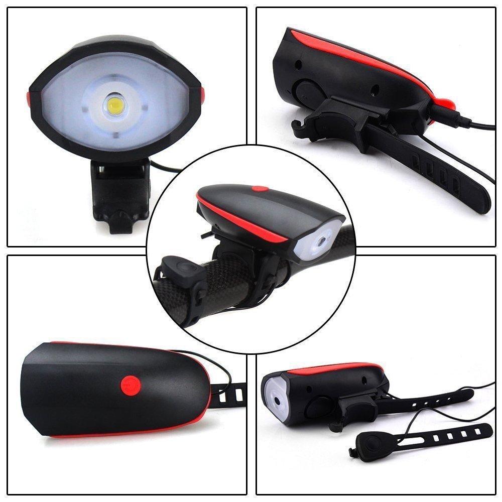 Vent Talk USB Lampe de phare de vélo rechargeable Led Led VTT lumière de vélo 140 db klaxon vélo lampe de poche Y1892709