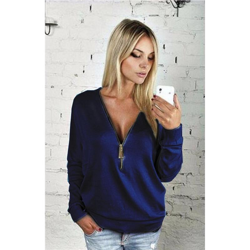 Women Sexy Fashion Batwing Sleeve Blouse Deep V Collar Zipper Sweater Long Sleeved T-shirt Plus Size S-5XL (13)