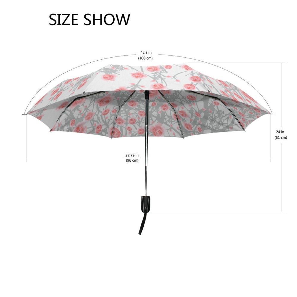 Painting Rain Umbrella Drawing Art Rose Pattern Umbrellas Flower Printed Automatic Three-folding Female Male Sun Rain Umbrella