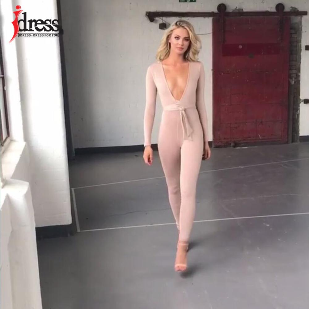 IDress 2018 New Spring Autumn Women\`s Sexy Long Sleeve Black Gold Illusion V Neck Sashes Bodysuit Elegant Rompers Women Jumpsuit (2)