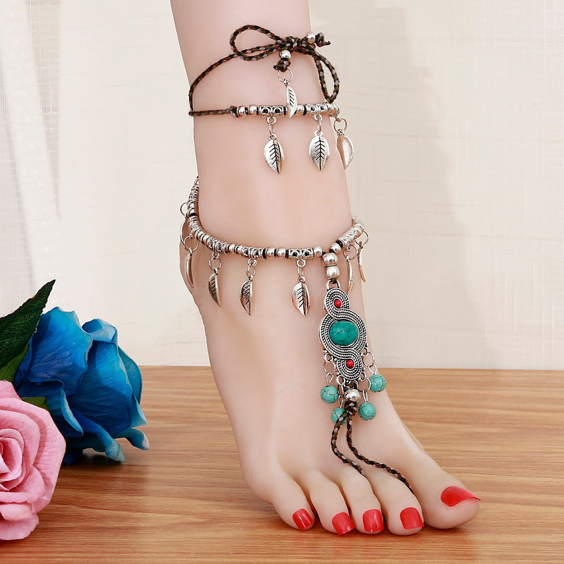 TTO Anklets Women Beach Barefoot Sandal Foot Tassel Jewelry Anklet Multilayer Blue Stone Anklet Boho Vintage Foot Jewelry 1 PCs