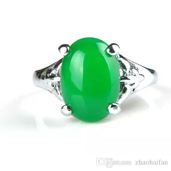 100% Natura China Bisuteria Titanium steel Jewelry Vintage Retro Austrian Crystal Agate Jade Big Rings For Women Ring