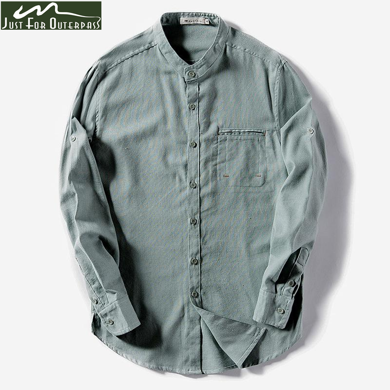 GRMO Men Solid Stand Collar 3//4 Sleeve Slim Summer Cotton Linen Shirt