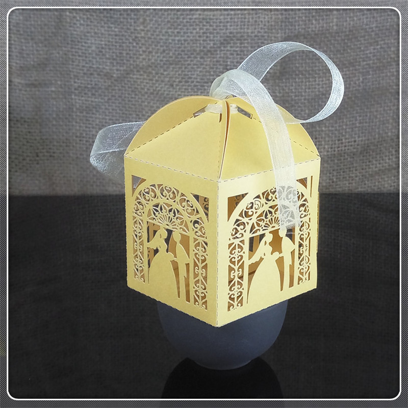 Laser Cut Groom Bride Wedding Gift Box Birthday Party Hollow Decoration Box Halloween Christmas Candy Box 6ZT12