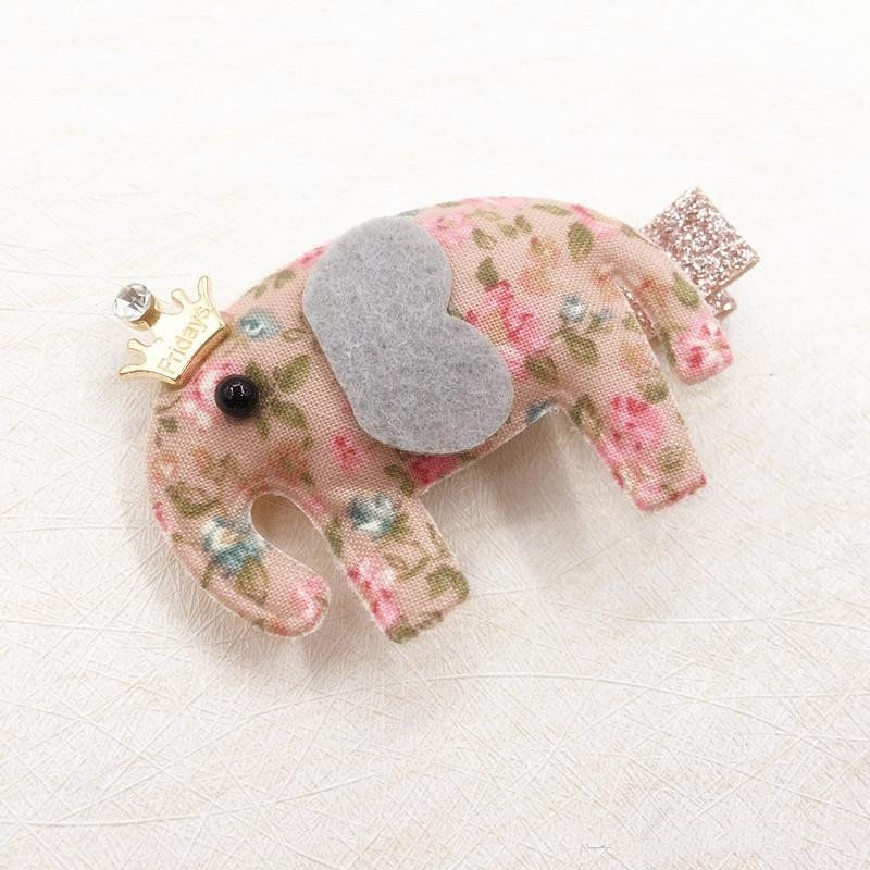 Boutique Fashion Cute Floral Elephant Hairpins Solid Glitter Gemstone Crown Animal Hair Clips Princess Hair Accessories
