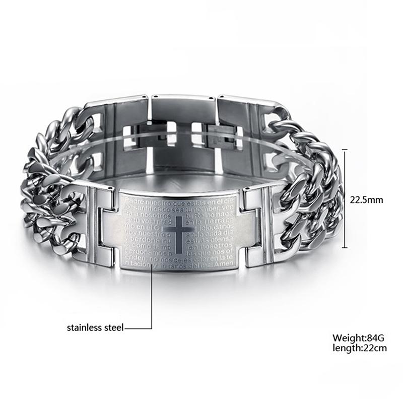 OBSEDE 2018 Punk Jesus Cross Bracelets Stainless Steel Bracelets Men Jewelry Male Charm Bangle Double Hand Chain Man Wristband S915