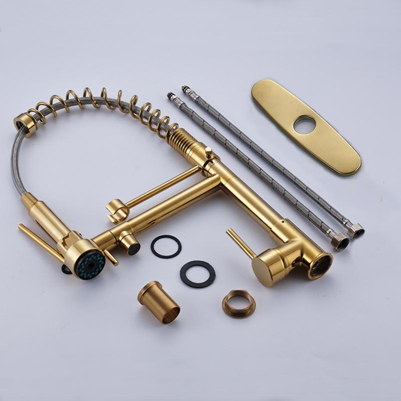 quyanre wanfan frap gappo golden spring kitchen faucet with cover plate RU shipment single handle mixer tap kitchen sink faucet1