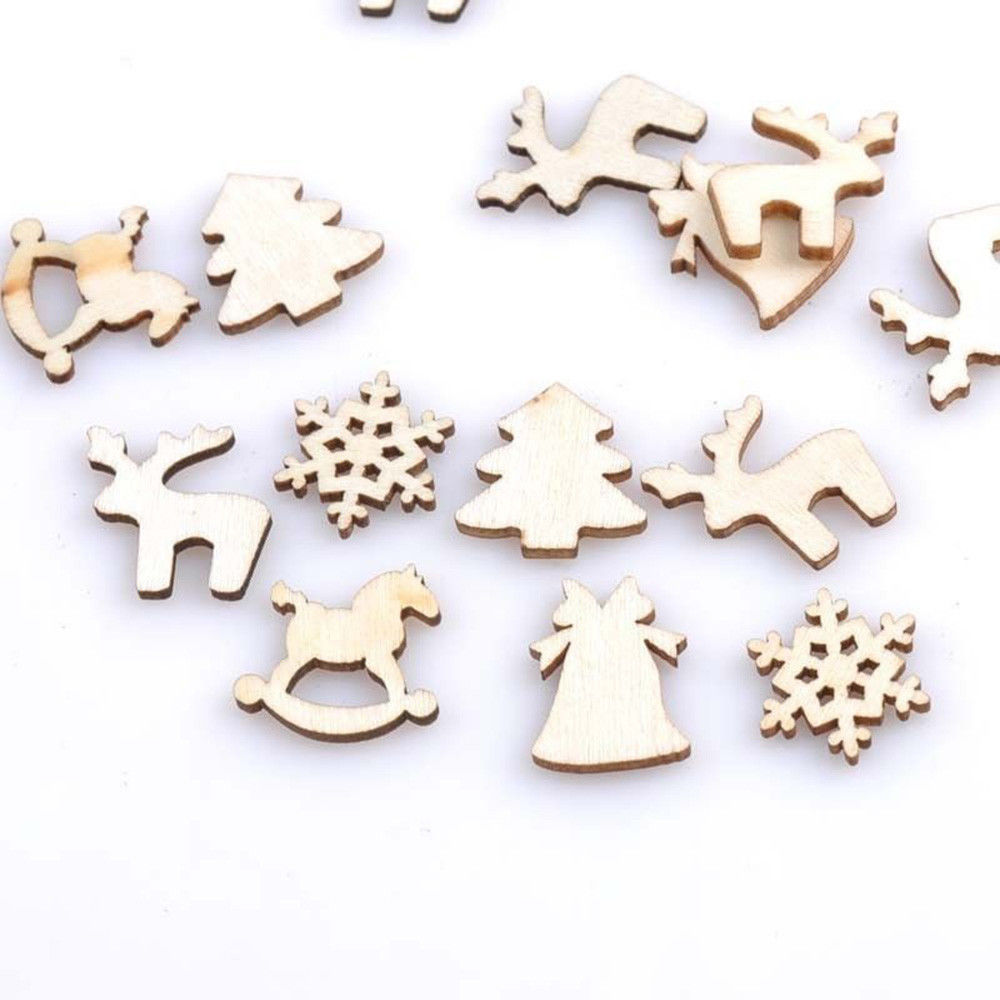 Christmas Wood Chip Ornaments Christmas Gifts Blank Ornaments tag Craft Decor tree Bell Hang Gift Wood Slices FFA1138 120lots
