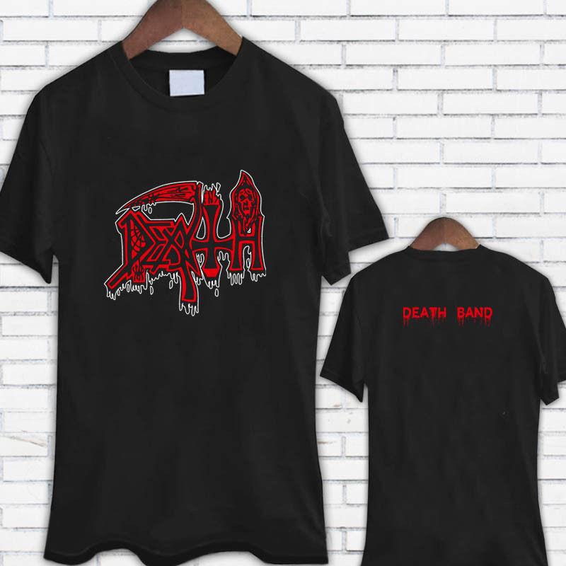 Camisa de diseño corto Crew Neck Death Metal Rock Band Logo Camisa de hombre negro Best Friend para hombres