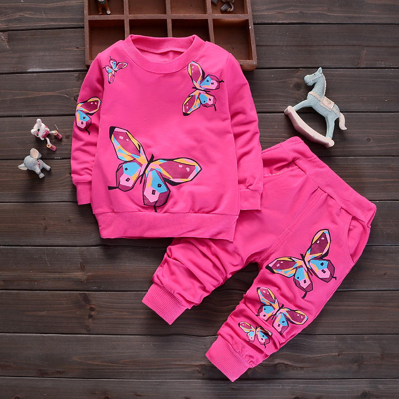 2pcs Toddler kids baby Girls Coat pants Set Outfits fall clothing Butterfly