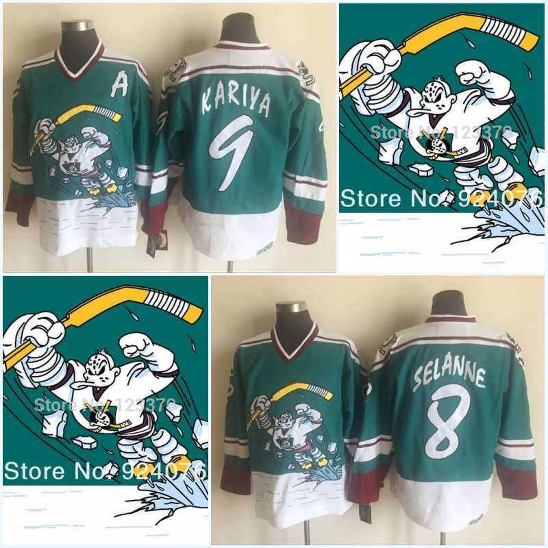 Mighty Ducks Wild Wing Jersey 1995-1996 Vintage 8 Teemu Selanne 9 Paul Kariya Green Retro Stitched Hockey Jerseys Cheap