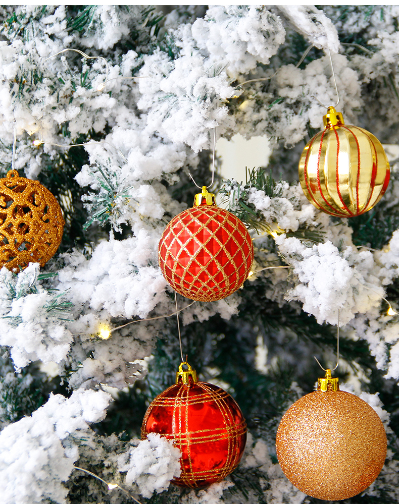 10 inhoo 2018 New Christmas Tree Decoration 7cm Ball Ornaments Pendant Accessories Red white Ball Decor For Christmas Home Party