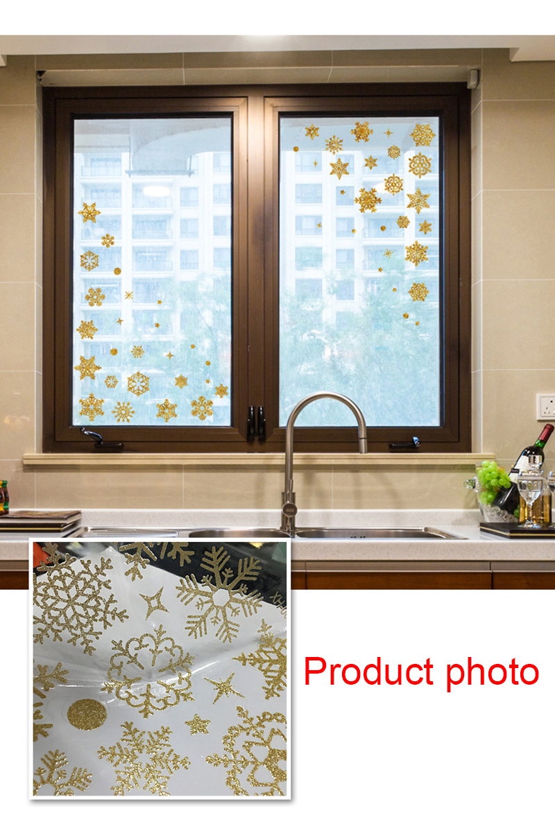 2019 New Year Gold Powder Silver Powder Snowflake Christmas Decorations for Home Window Glass Background Decoration Sticker (9)