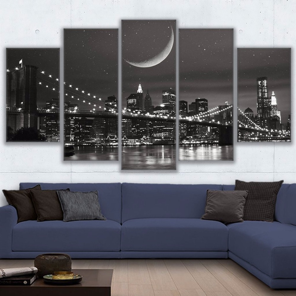 Painting Abstract Art Framework Wall Modular Picture For Living Room Home Decoration 5 Panel City New York Canvas Prints Poster
