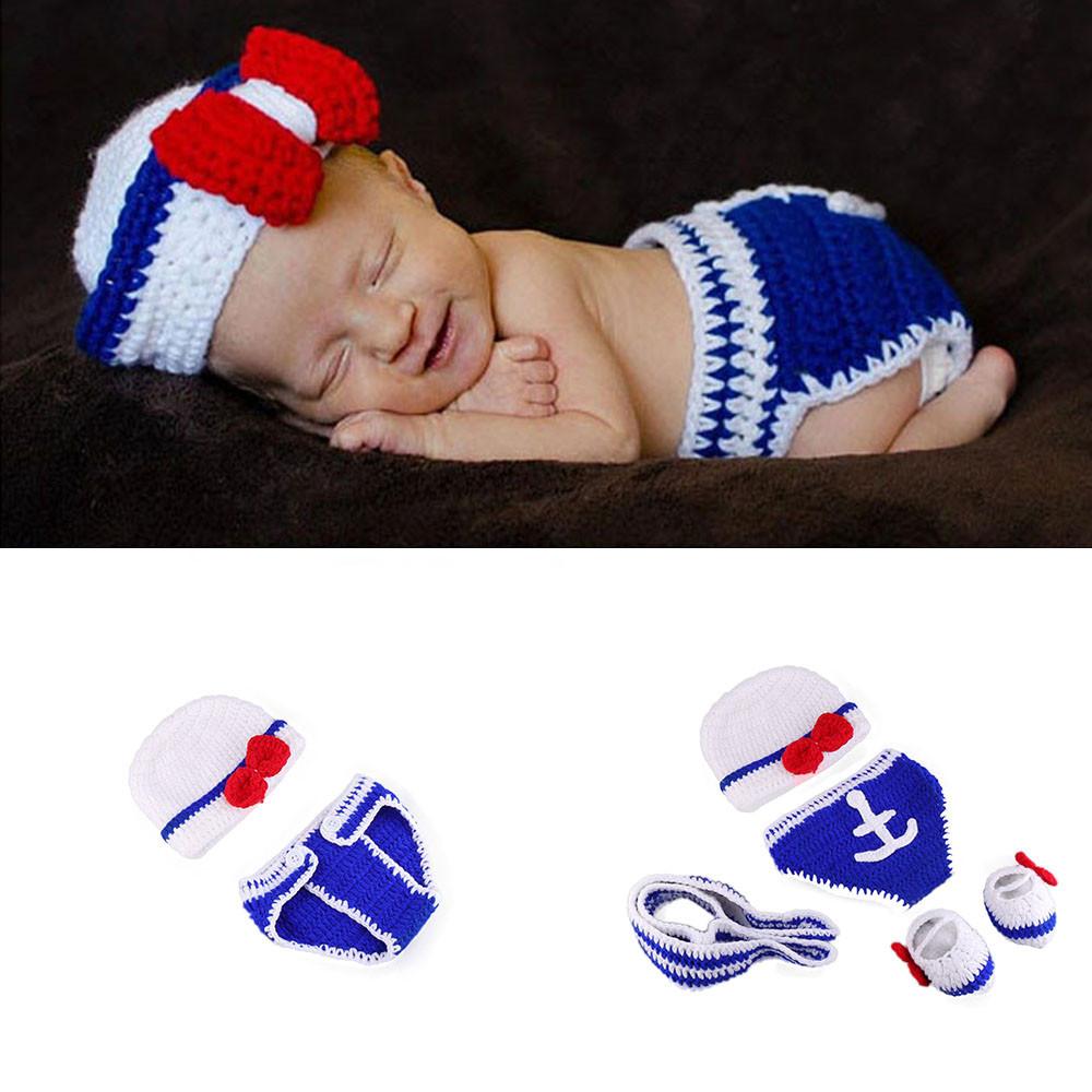 Crochet Newborn Navy Photo Props Sailor Design Baby Crochet Hats Diaper Necktie Shoes Set Newborn Photography Props