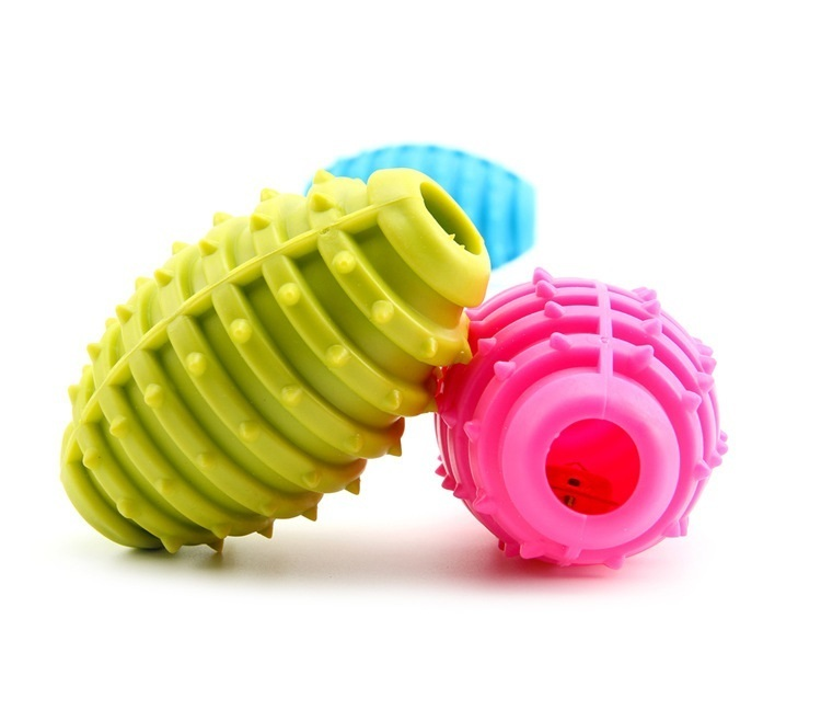 Grenade Shape Dog Chews Toy Puppy Funny Toy Pet Rubber Ball Toy High Quality Durable Pet Supplies Random Color 10cm